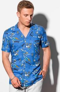 Niebieska koszula Ombre z krótkim rękawem z nadrukiem