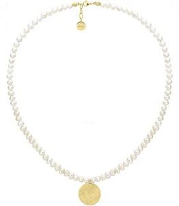 Manoki WA488G naszyjnik perły z pozłacanym medalionem