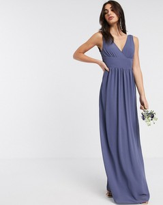 Niebieska sukienka Tfnc maxi z dekoltem w kształcie litery v z szyfonu