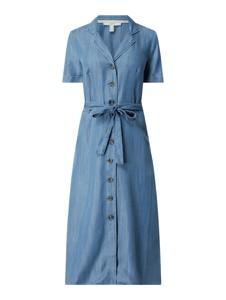 Niebieska sukienka Esprit midi z kołnierzykiem z jeansu