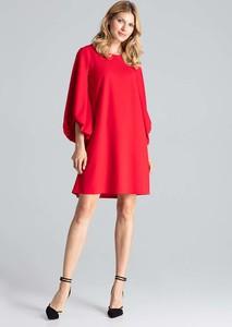 Czerwona sukienka Figl z okrągłym dekoltem