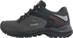 Czarne buty trekkingowe Kaiteki sznurowane z płaską podeszwą