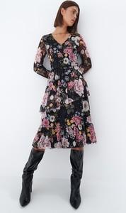 Sukienka Mohito z długim rękawem z dekoltem w kształcie litery v asymetryczna