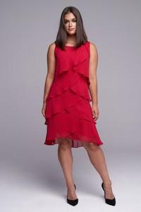 Czerwona sukienka Ella Boutique bez rękawów z okrągłym dekoltem