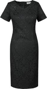 Czarna sukienka Fokus w stylu klasycznym midi z żakardu