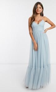 Niebieska sukienka Asos baskinka na ramiączkach z tiulu