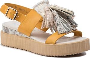 Żółte sandały Nessi na platformie