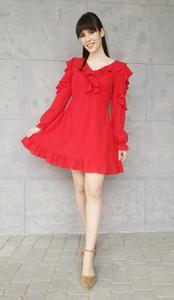 Czerwona sukienka Sklepfilloo z długim rękawem