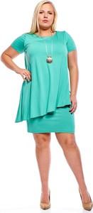 Miętowa sukienka Fokus z krótkim rękawem mini