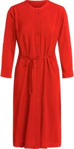 Czerwona sukienka Set z długim rękawem z okrągłym dekoltem