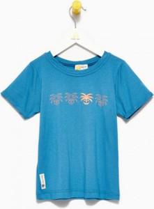 Niebieska koszulka dziecięca Banana Kids z krótkim rękawem dla chłopców z jeansu