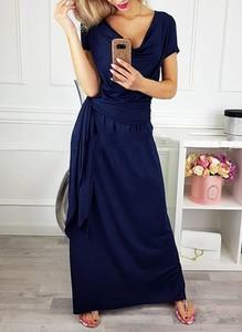 Granatowa sukienka Cikelly z dresówki z krótkim rękawem