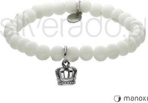 Silverado biała bransoletka z koroną i fasetowanym agatem 77-ba433w