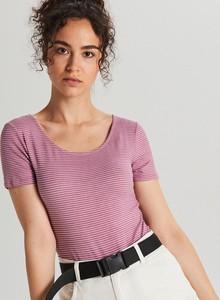 Różowa bluzka Cropp z okrągłym dekoltem w stylu casual