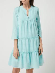 Niebieska sukienka Smashed Lemon z bawełny z dekoltem w kształcie litery v mini
