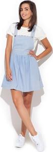 Niebieska sukienka Katrus w stylu casual z jeansu mini