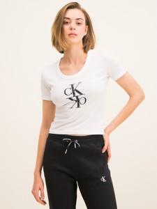 T-shirt Calvin Klein z krótkim rękawem z okrągłym dekoltem w młodzieżowym stylu