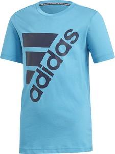 Niebieska koszulka dziecięca Adidas z bawełny
