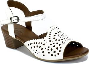 Sandały Manitu na obcasie na średnim obcasie ze skóry