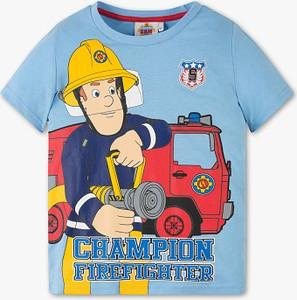 Niebieska koszulka dziecięca C&A z bawełny z krótkim rękawem