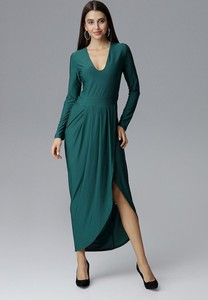 Sukienka Figl z dekoltem w kształcie litery v maxi z długim rękawem