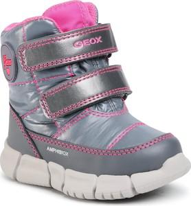 Srebrne buty dziecięce zimowe Geox na rzepy