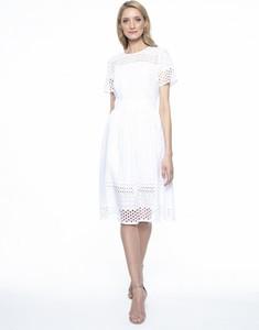 Sukienka L'AF z okrągłym dekoltem rozkloszowana z krótkim rękawem