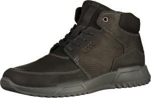Brązowe buty zimowe Ecco sznurowane ze skóry