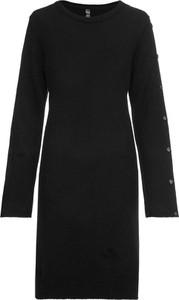 Czarna sukienka bonprix RAINBOW midi z dzianiny w stylu klasycznym