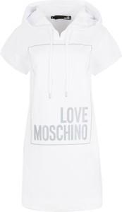 Sukienka Love Moschino z dekoltem w kształcie litery v z dresówki