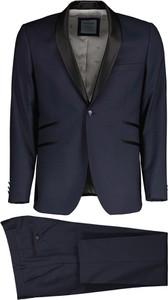 Niebieski garnitur Lavard w stylu klasycznym z wełny