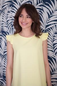 Żółta sukienka butik-choice.pl z okrągłym dekoltem mini