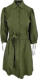Zielona sukienka Liu-Jo z kołnierzykiem z długim rękawem w stylu casual