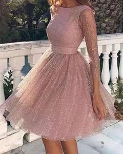 Sukienka Kendallme rozkloszowana mini z długim rękawem