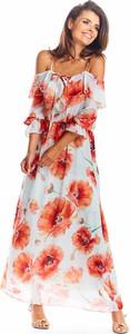 Sukienka Awama z dekoltem w kształcie litery v maxi na ramiączkach