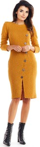 Żółta sukienka Awama midi z długim rękawem