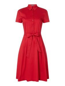 Czerwona sukienka Montego z krótkim rękawem z bawełny