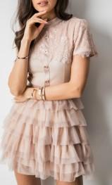 Różowa sukienka Fashion Manufacturer z krótkim rękawem