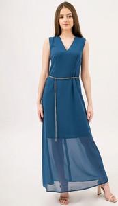 Niebieska sukienka Bialcon z dekoltem w kształcie litery v bez rękawów maxi