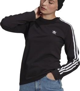 Czarna bluzka Adidas z okrągłym dekoltem w sportowym stylu z długim rękawem