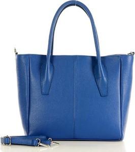 Niebieska torebka GENUINE LEATHER ze skóry w wakacyjnym stylu