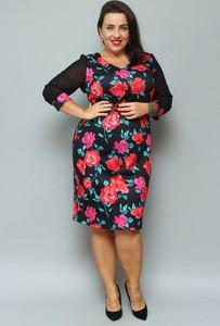 Sukienka KARKO midi z dekoltem w kształcie litery v ołówkowa