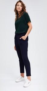 Granatowe spodnie Diverse z tkaniny w sportowym stylu