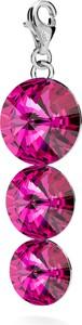 GIORRE SREBRNY CHARMS POTRÓJNY KRYSZTAŁ SWAROVSKI 925 : Kolor kryształu SWAROVSKI - Fuchsia, Kolor pokrycia srebra - Pokrycie Jasnym Rodem