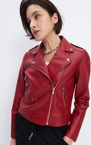 Czerwona kurtka Mohito ze skóry w stylu casual krótka