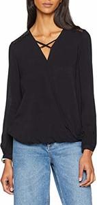 Czarna bluzka amazon.de z długim rękawem ze sznurowanym dekoltem