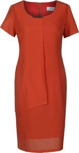 Pomarańczowa sukienka Fokus z krótkim rękawem midi z okrągłym dekoltem