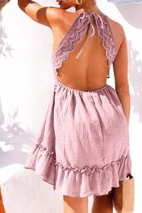 Różowa sukienka IVET z długim rękawem hiszpanka
