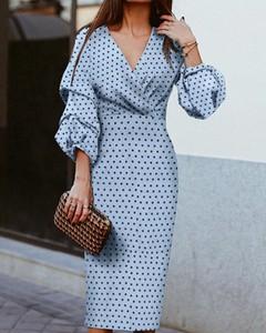 Niebieska sukienka Kendallme z dekoltem w kształcie litery v z długim rękawem ołówkowa