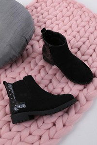 Czarne buty dziecięce zimowe Casu na zamek